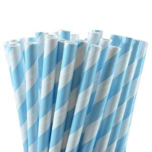 Blue White Stripe Paper Straws