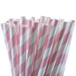 Pink White Stripe Paper Straws
