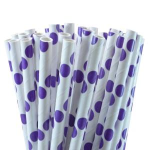 Purple Polka Dot Paper Straws