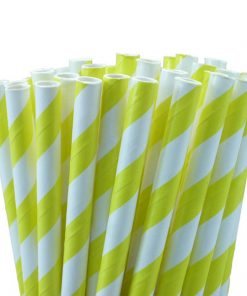 Yellow White Stripe Paper Straws