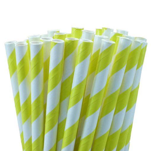 Yellow White Stripe Paper Straws