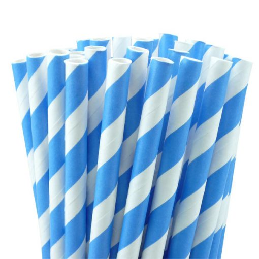 Blue Stripe Paper Straws