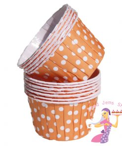 Orange Polka Dot Baking Cups