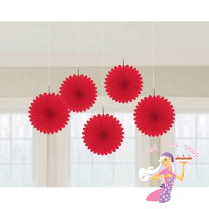 Red Hanging Fans 5 Pack