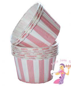 Pink Stripe Baking Cups
