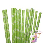 Green Daisies Paper Straws