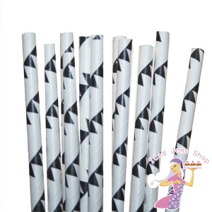 Black Bunting Paper Straws