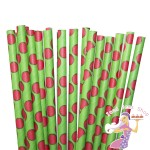 Green Straws Red Polka Dots