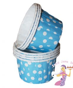 Mini Blue Polka Dot Baking Cups