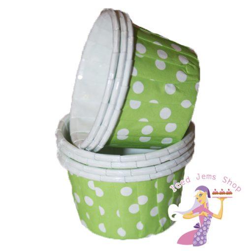 Mini Green Polka Dot Baking Cups