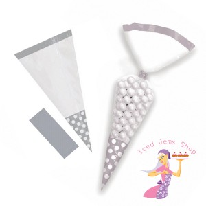 Silver Polka Dot Sweet Cones
