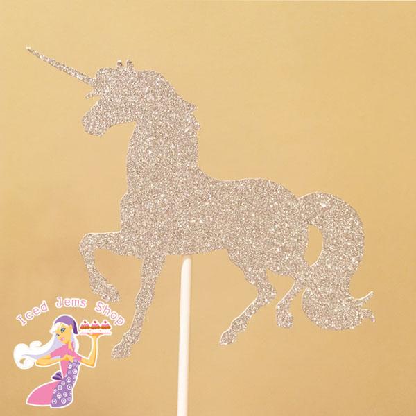 Silver Glitter Unicorn Cake Topper