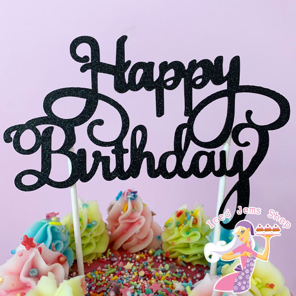 Black Glitter Happy Birthday Cake Topper Iced Jems Shop