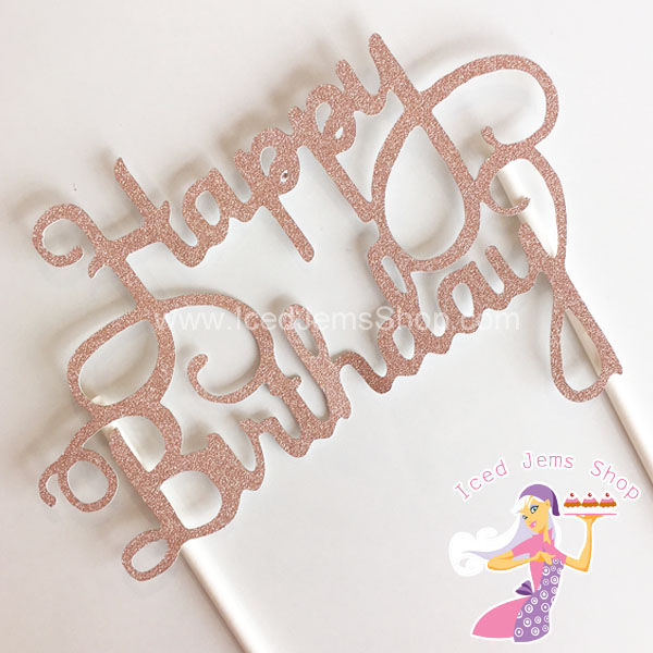 Groovy Rose Gold Glitter Happy Birthday Cake Topper Iced Jems Shop Funny Birthday Cards Online Elaedamsfinfo