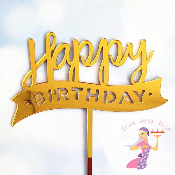Gold Happy Birthday Banner Topper - Acrylic