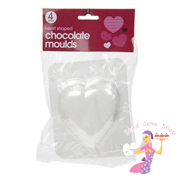 Plastic Heart Shaped Chocolate Moulds 4 Pack