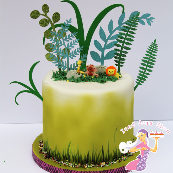 Groovy Jungle Leaves Cake Toppers Set 7 Pack Iced Jems Shop Funny Birthday Cards Online Alyptdamsfinfo